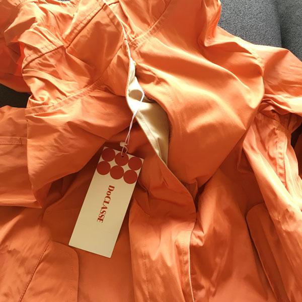 二重織リバーシブルパーカーオレンジ色